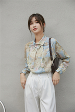 Spring  Autumn Retro Oil Painting Print Women's Thin Long Sleeve Shirt All-Match Loose Top