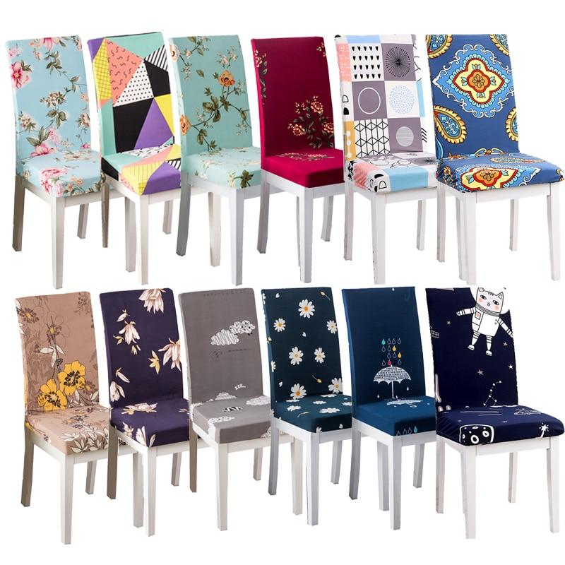 Flower Geometric Chair Cover Dining Elastic Spandex Cloth Universal Stretch Fashion Home Decor