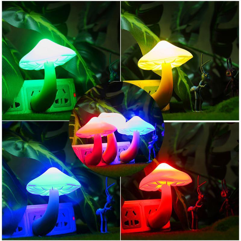 US Plug Colorful Energy Saving Mushroom Wall Socket Lights LED Night Light Lamp For Bedroom Light-controlled Sensor