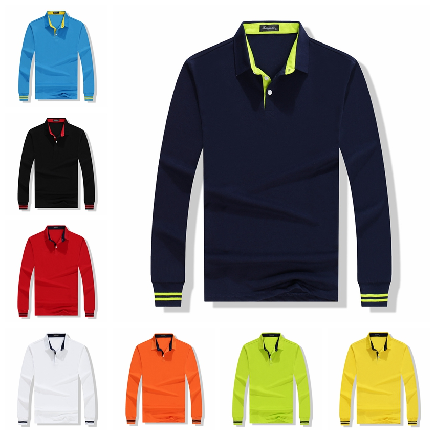 Fall Breathable Cotton Slim Polo Shirt Men Long Sleeve Fashion Collar Fitness Solid Male Golf Solid Color Workwear Customization