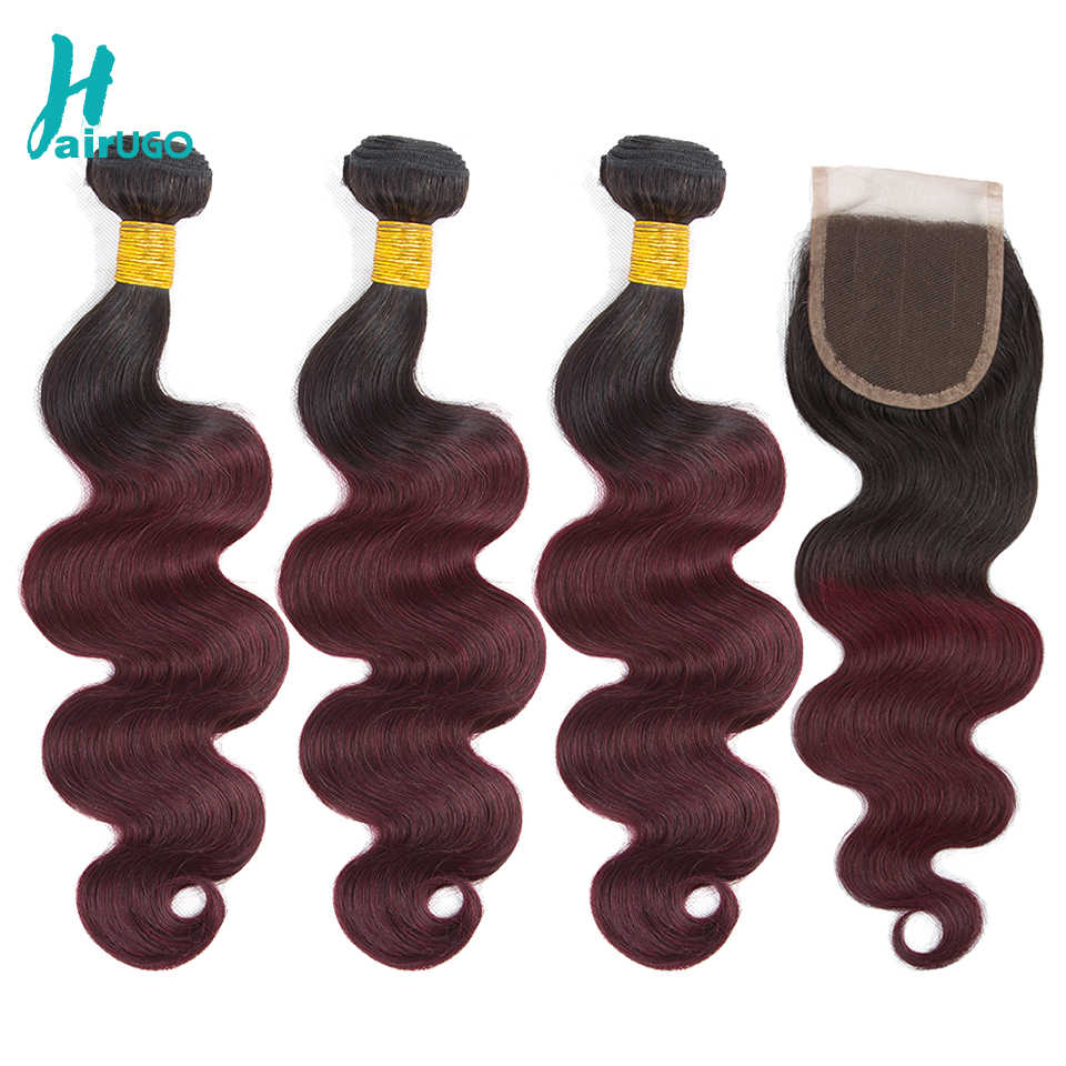 HairUGo Ombre Peruvian Hair 4 Bundles With Closure Pre-Colored 1B/99J Body Wave Human Hair Bundles With Closure Non Remy Hair