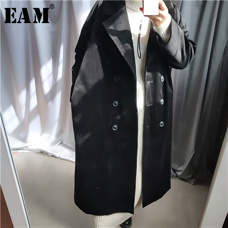[EAM] Women Brief Corduroy Big Size Long Trench New Lapel Long Sleeve Loose Fit Windbreaker Fashion Autumn Winter 2019 1H62201