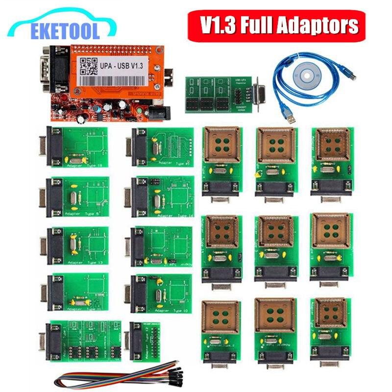 Newest UPA USB Serial Programmer V1.3 Green Adapter Full Auto ECU Chip Tuning UUPROG EEPROM V1.3 ECU Programmer Adapters