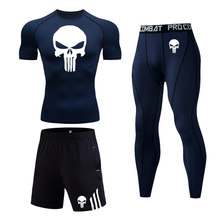 3-pc set Short Tracksuit Men Compression MMA clothing skull T-shirt moisture wicking Fitness Jogging Pants Running tights suit(China)