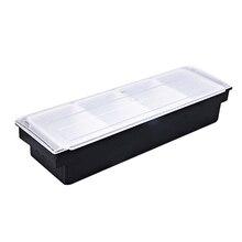 Ледяной охлаждаемый контейнер для приправ пластиковый охлажденный гарнир панель лотка Caddy для работы дома или ресторана или на открытом воздухе буфет