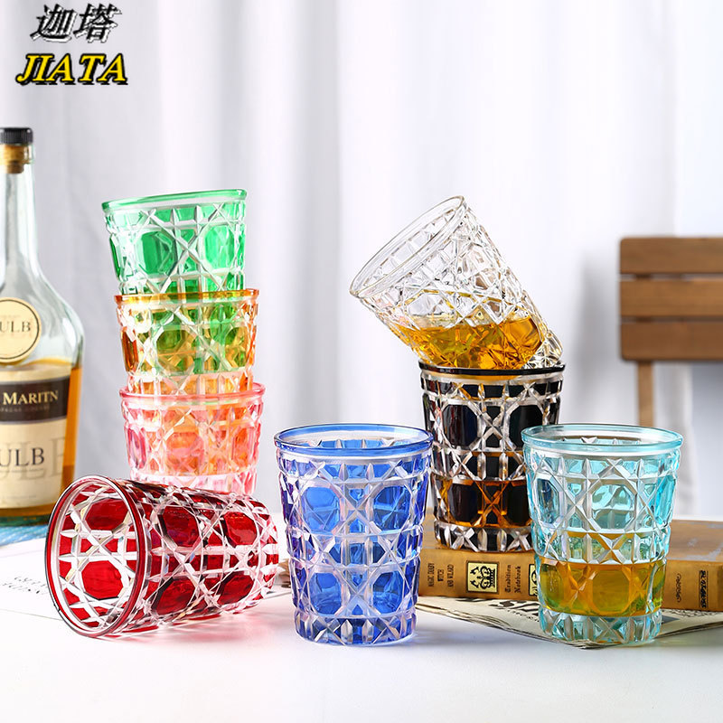 Coffee Crystal Cup Plaid Crystal Glass Cup Rattan Plaid Transparent Color Cup Starry Crystal Glass Creative Cup Whiskey Glass