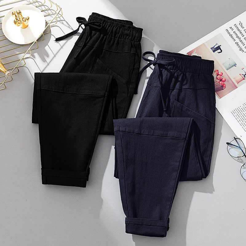 Large Size Dress Spring And Autumn New Style Casual Harem Pants Fat Mm Korean-style Wide Elastic Large Pocket Drawstring Laced P