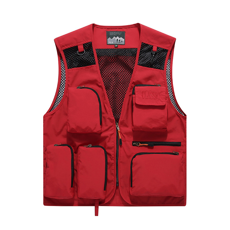 Hyweacvar Men's Professional Studio Work Vest Photographer Outwear Vest Mesh Breathable Work Suit Red / Blue / Khaki