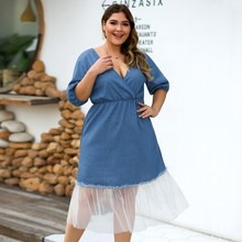 Womens Plus Size 4xl Denim Dress For Women High Quality Fashion Ladies Vintage Elegant Noble Party Large Fall Dresses#G30