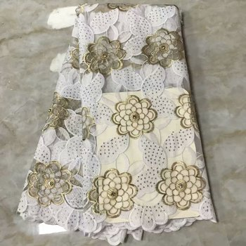 White Milk Slik Cotton African Lace Fabric With Stone 2019 High quality French Tull Lace fabric Nigerian Embroidered Lace Fabric