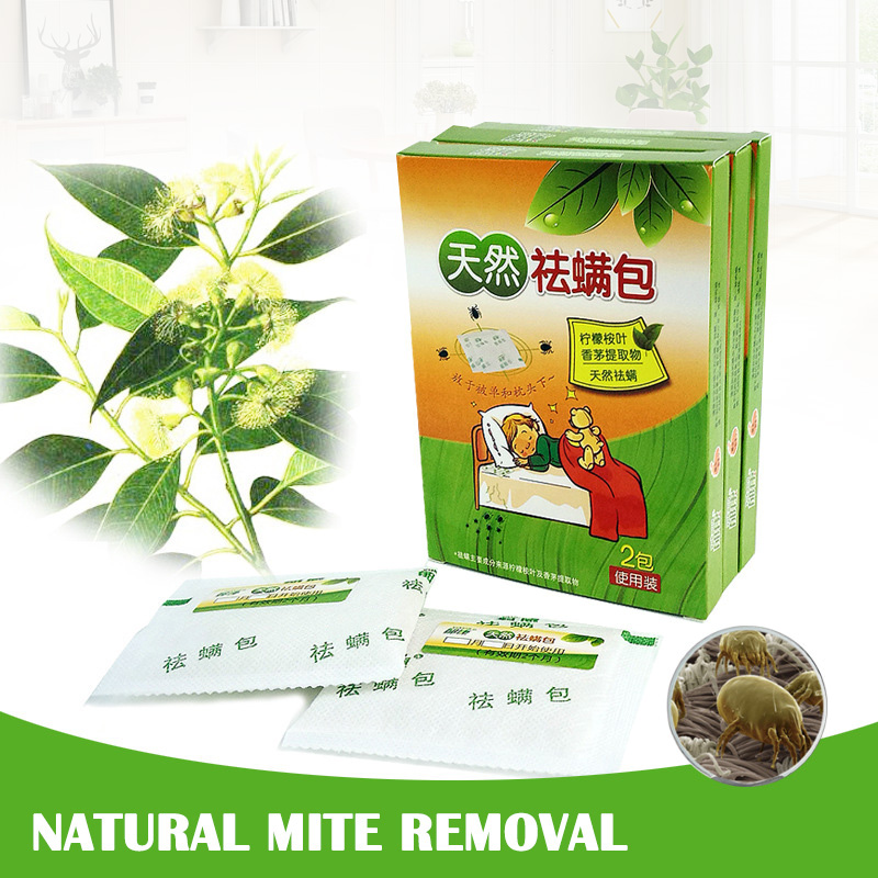 Hot 2 Pcs/ Box Naturally Acarid Removal Mite Killer Pack For Household Using D6