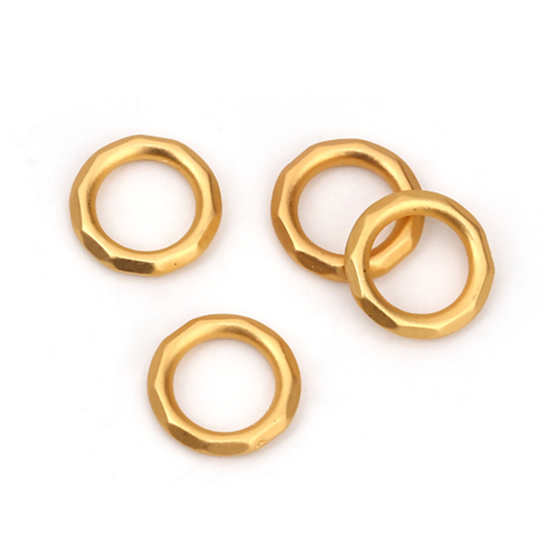 DoreenBeads Fashion 2mm Zinc Based Alloy Closed Soldered Jump Rings Findings Matt Gold Faceted Jewelry DIY 12mm Dia, 10 PCs