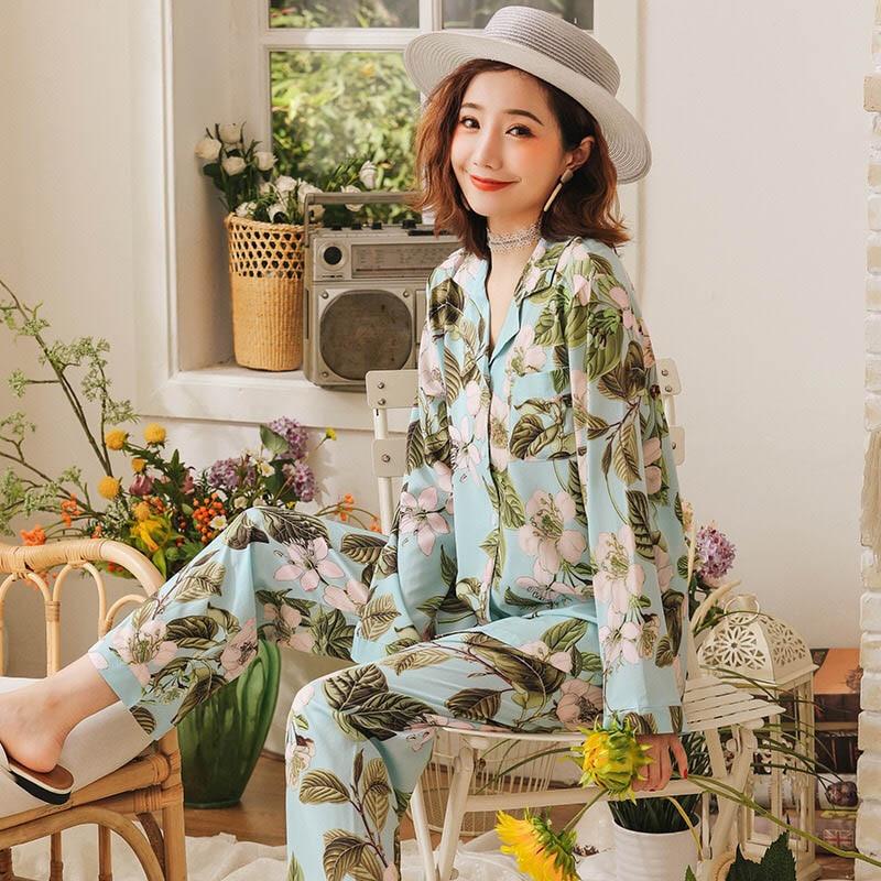 2019 Autumn New Ladies Pajamas Set Elegant Floral Printed Long Sleeve Ice Silk Soft Satin Sleepwear Femme Long Sleeve Homewear