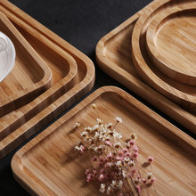 Plate Tray Wooden Bamboo Tray Household Wood Plate Japanese Dinner Plate Tea Tray