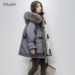 Женская теплая парка с поясом Fitaylor, куртка на белом утином пуху (90%) с капюшоном, обшитым натуральным лисьим мехом, модель большого размера на...