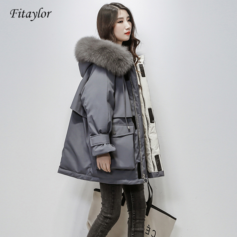 Fitaylor Large Natural Fox Fur Hooded Winter Jacket Women 90% White Duck Down Thick Parkas Warm Sash Tie Up Snow Coat