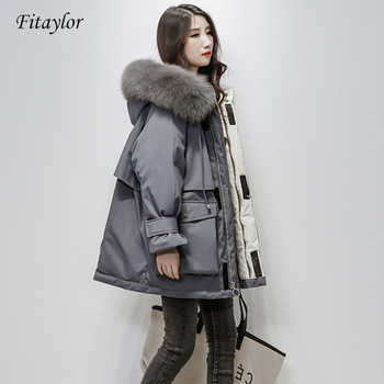 Fitaylor Large Natural Fox Fur Hooded Winter Jacket Women 90% White Duck Down Thick Parkas Warm Sash Tie Up Snow Coat - DISCOUNT ITEM  46% OFF All Category