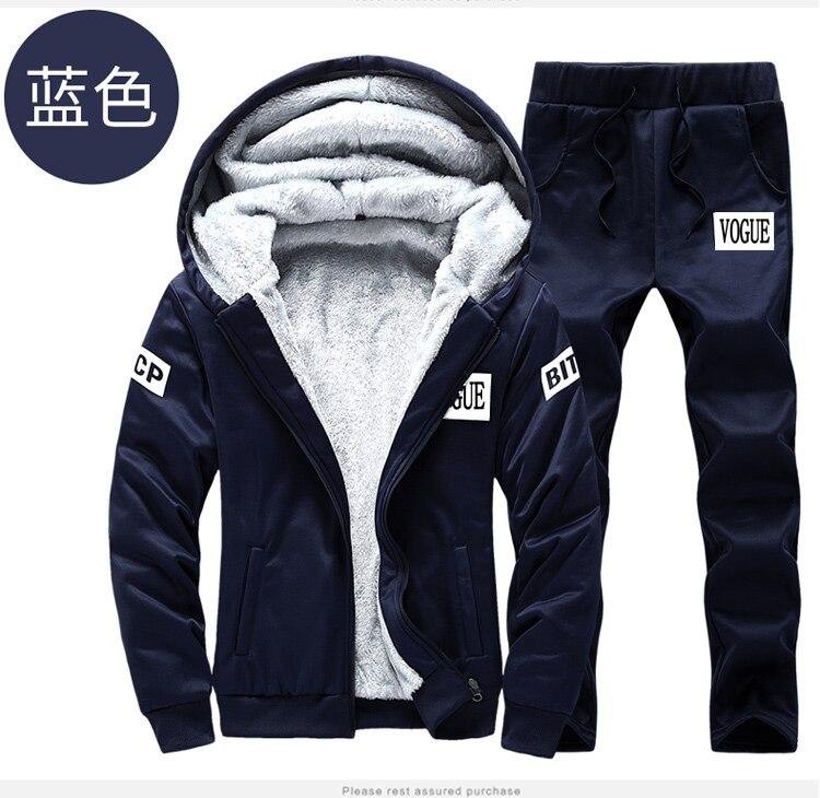 Men Hooded Fleece Fur Sportwear Suit Sweatshirt Tracksuit Track Active Suit Outwear 2PC Jacket Coat Pants Trousers Sets Outfits