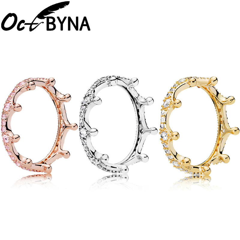 Octbyna Princess Queen Crown Ring Design Cubic Zirconia Wedding Engagement Romantic Brand Rings For Women Jewelry Dropshipping