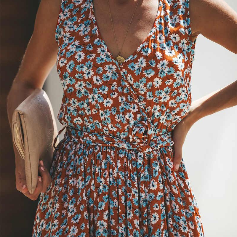 Yaz elbisesi kadın baskı dikiş moda elbise kadın plaj rahat dantel Up uzun elbiseler yüksek kalite bayanlar Vestidos QX11