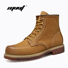 Natural Cow Leather Men Boots Plus Size Vintage Ankle Handmade Retro Shoes Waterproof Outdoor Working
