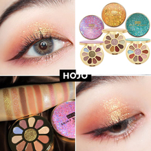 HOJO 11 Colors Shimmer Matte Luster Sand Eyeshadow Palette Pigmented Eye Shadow Powder Makeup Shiny Natural Nude Eyeshadow