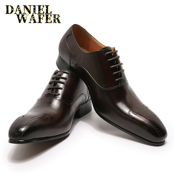 LUXURY MEN SHOES GENUINE LEATHER LACE UP OFFICE BUSINESS SHOES FORMAL BROGUE POINTED TOE OXFORDS WEDDING SHOES WINTER luxury italian oxfords genuine leather shoes brogue fashion wing tip black brown lace up wedding office dress men formal shoes