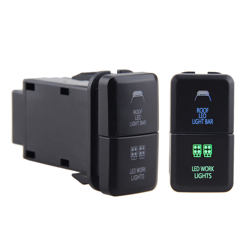 Voiture double Push lumière LED bars, bleu/vert, pour voiture Toyota Prado, Hilux Landcruiser, 12V