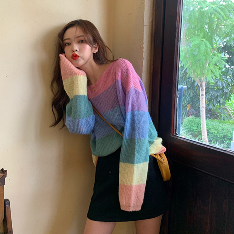 Women's Sweaters Korean Ins Chic Ulzzang Loose Rainbow Striped Sweater Female Vintage Kawaii Cute Svitshot For Women