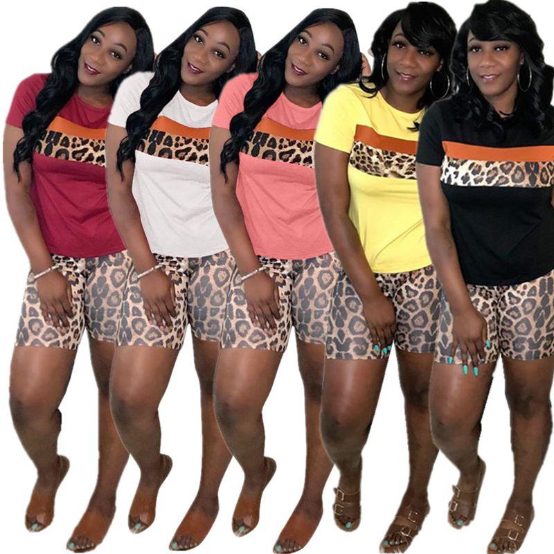 HAOYUAN Plus Size Leopard Two Piece Set Women 2020 Tracksuit Top+Biker Shorts Lounge Wear Matching Sets 2 Piece Summer Outfits