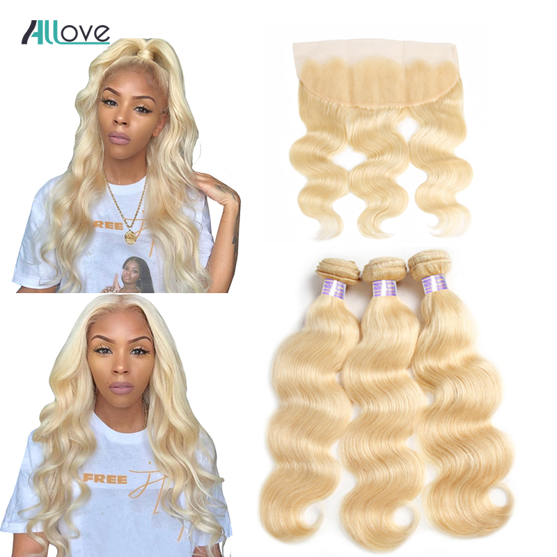 Allove Body Wave Bundles With Frontal 613 Bundles With Closure Brazilian Hair Weave Bundles Remy Blonde Human Hair Extensions