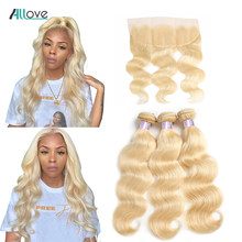Allove Body Wave Bundles With Frontal 613 Bundles With Closure Brazilian Hair Weave Bundles Remy Blonde Human Hair Extensions(China)