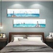 Affiches et imprimés d'art de paysage de mer et de mouette bleue Simple, peintures sur toile, images d'art murales pour décor de salon (sans cadre)