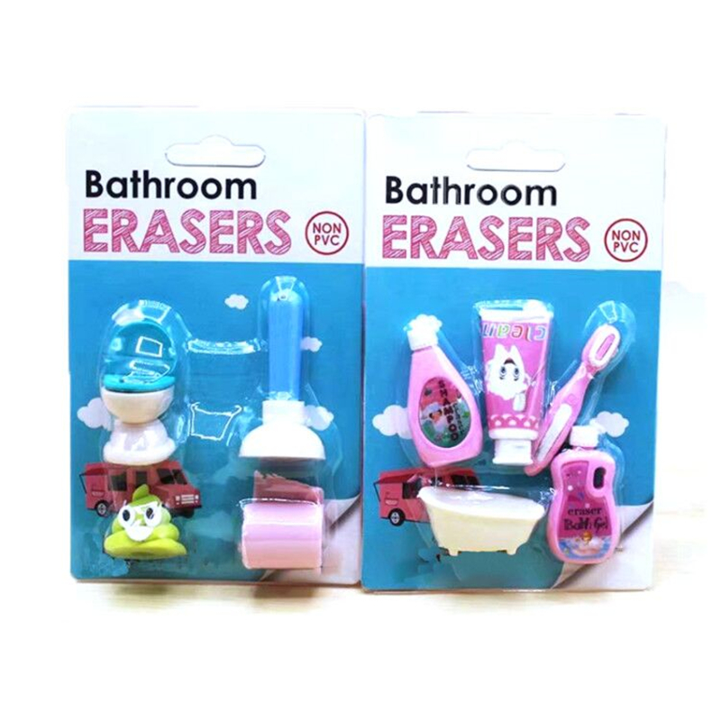 Bathtub Shampoo Rubber Pencil Eraser Stationery For Bathroom Erasers Rubber Gift Student Kawaii Reward Toy