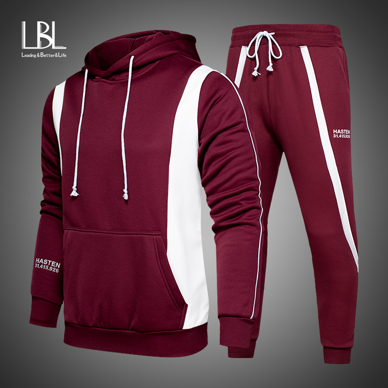 New Fleece Hoodies Men Spring Autumn Long Sleeve 2 PCS Hooded Sweatshirts Sets Mens Brand Two Pieces Hoody + Sweatpants Sets
