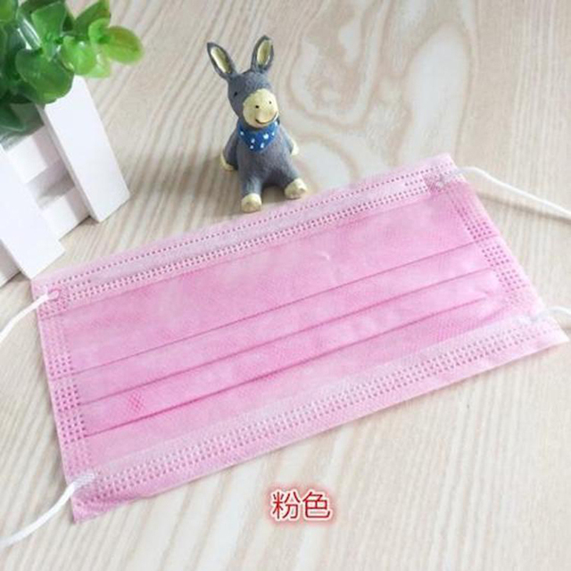 10/20/30/50/100/200 pcs Pink Color Non-woven 3 Ply Disposable Face Mouth Masks Breathable Mask with Elastic Ear Band Face Masks 4
