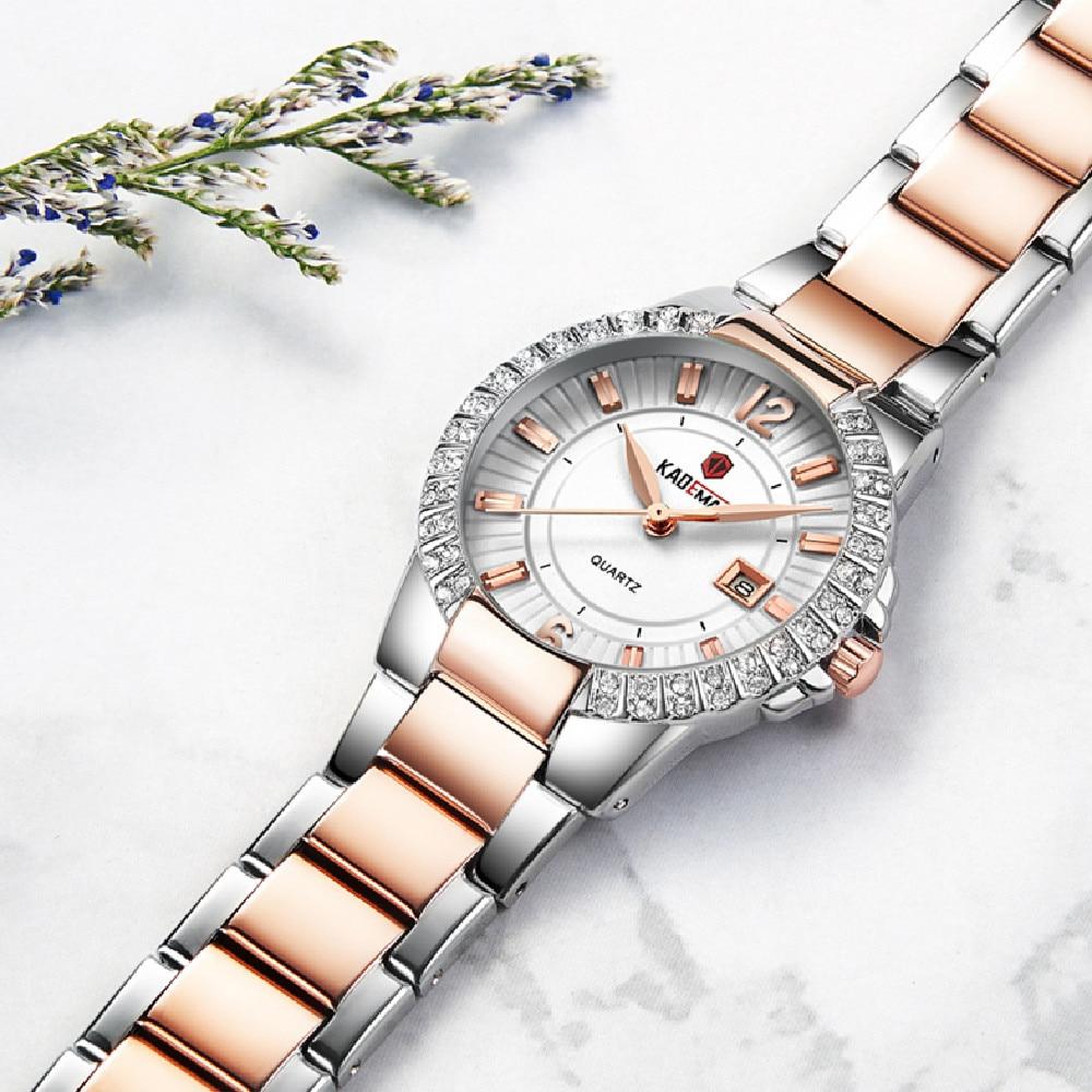 826 Top Luxury Brand Kademan Ladies Wrist Watches for Women Calendar Fashion Crystals Rhinestone Waterproof Wristwatch Relogio