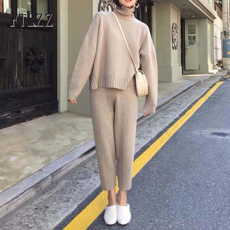 Autumn Winter Two Piece Set Women Casual Turtleneck Sweater + Slim Pants Knitted Suits Woman Fashion Clothes Outfit Street Tracksuit Sets