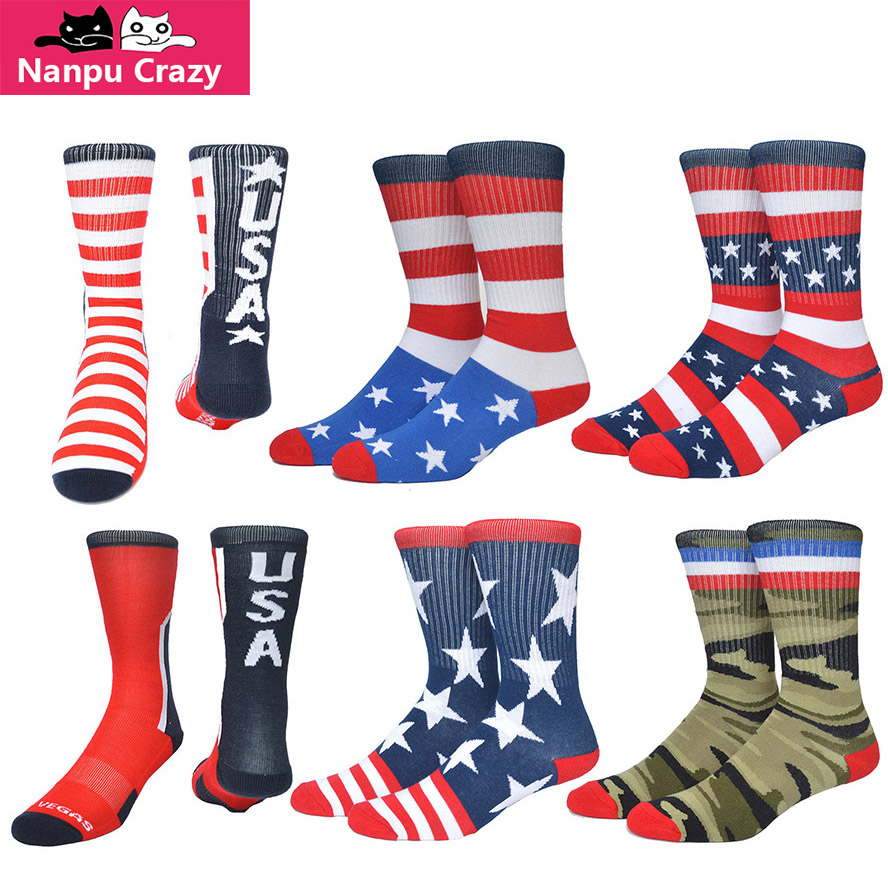 Socks With Prints Colorful Sock Independence Day American Flag Skate Socks Men Terry Cotton Absorb Sweat Basketball Sock Hemp