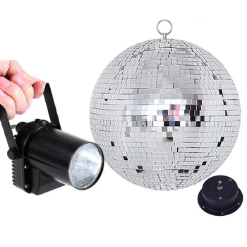 Thrisdar Dia20CM 25CM 30CM Rotating Glass Disco Mirror Ball With Motor + 5W Pinspot Lamp Party Wedding Hanging Disco Ball Light