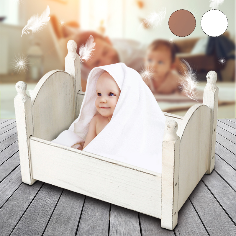 Children's Photography Props Small Bed For Newborn Basket Sofa Crib Wooden Baby Photo Studio Photography Bed Boys Girls Gift