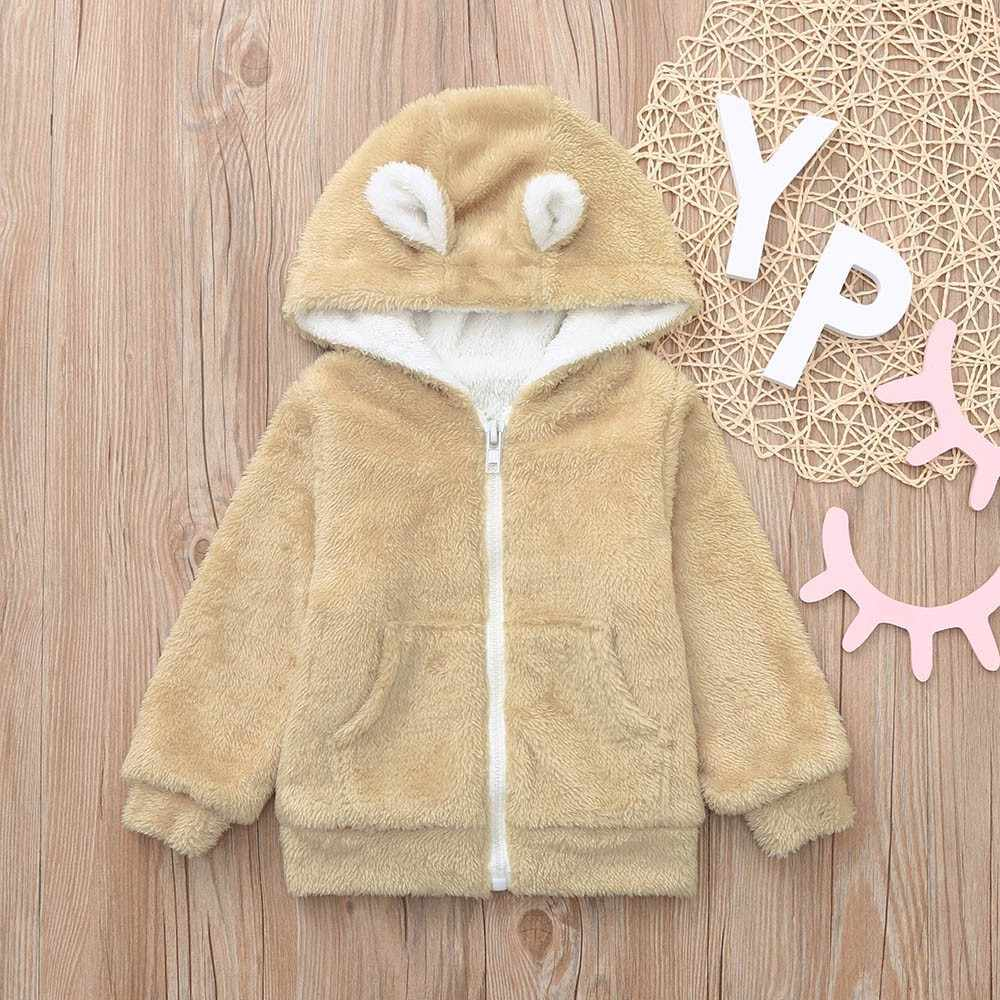 Velo para crianças jaqueta bebê recém-nascido meninos meninas mangas compridas veludo dos desenhos animados casaco com capuz roupas snowsuit crianças casacos