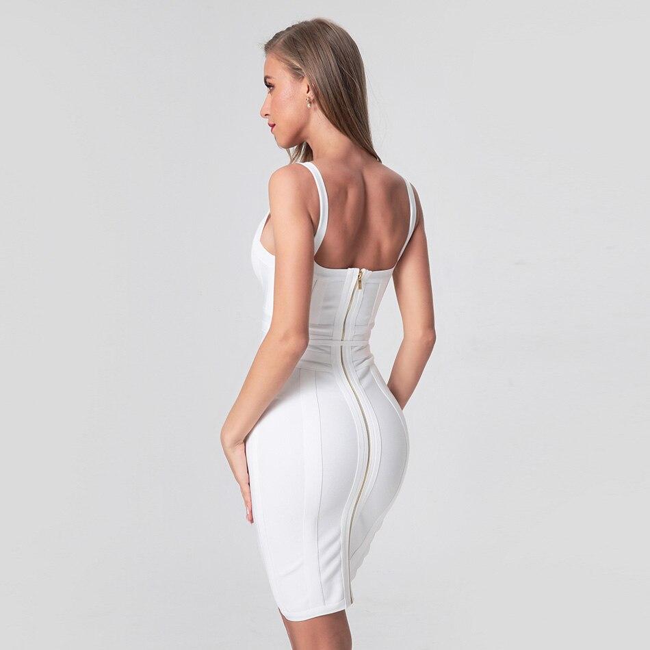 2020 Newest Fashion Bandage Dress Women Spaghetti Strap V-Neck Belt Sexy Night Club Evening Party Bodycon Dress Women Vestidos 4