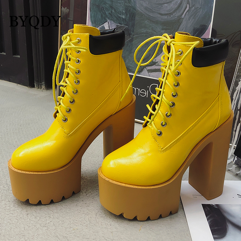 BYQDY Winter Boots Women Super Thick Heels Platform Shoes Candy Color Woman Boots Sexy Ladies High Heel Ankle Botas Autumn