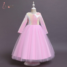 5-14Years Summer Girl Dress For Kids Children Wedding Party Carnival Costume Unicorn Rainbow Princess Gown Flower Vestidos New