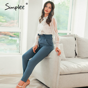 Image 4 - Simplee Women fashion high waist pencil pants Spring female casual belt patchwork long pants Office lady work wear trousers