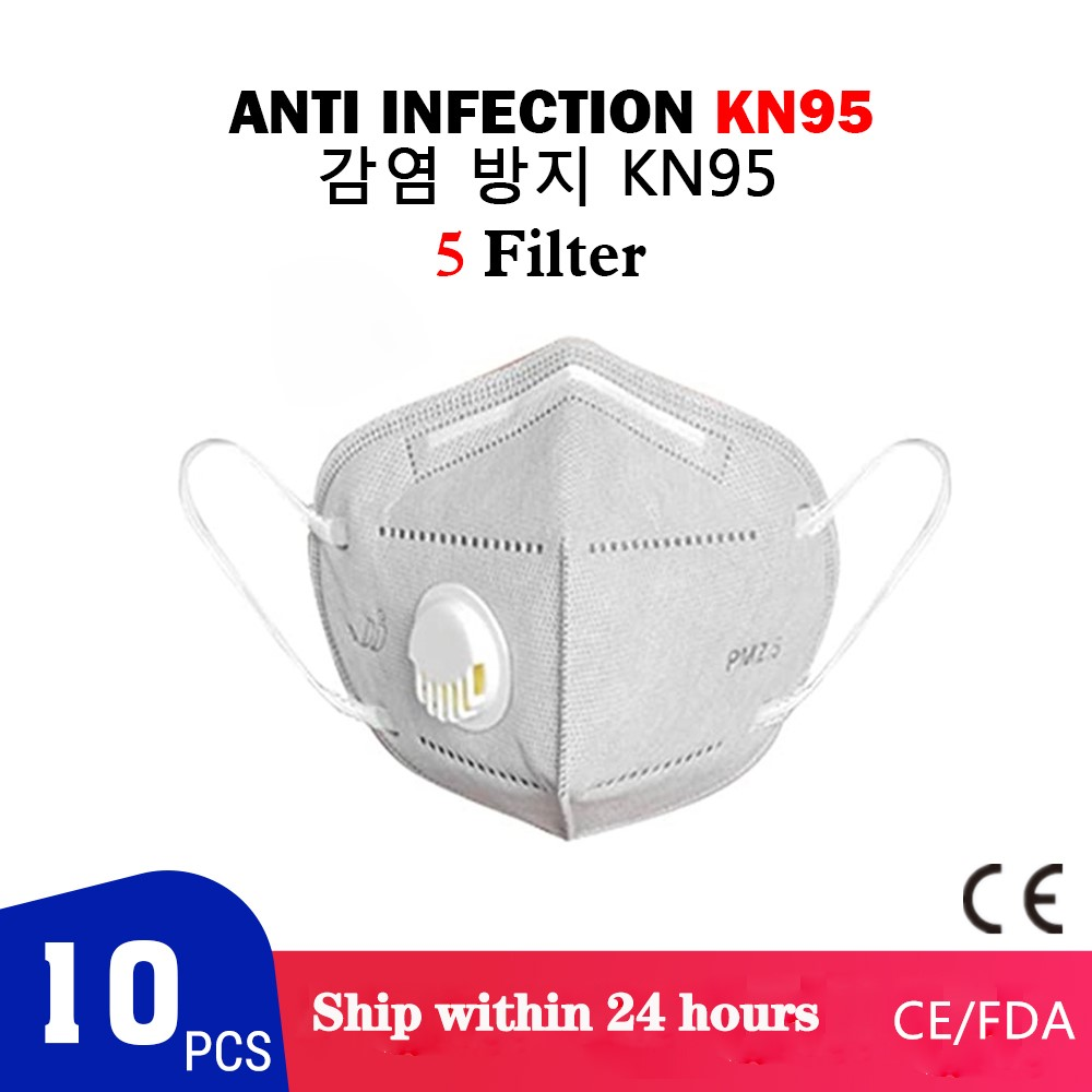 10 Pcs KN95 Dustproof Anti-fog And Breathable Face Masks 95% Filtration KN95 Masks Features As KF94 FFP2