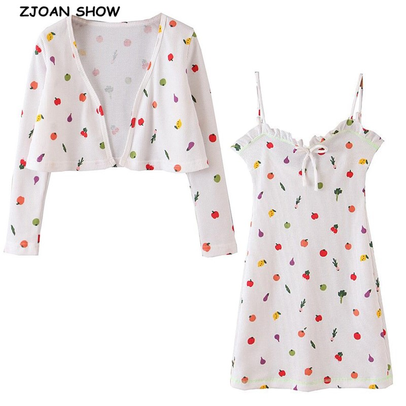 2020 Spring Retro White Colored Fruit Print Cardigan Korea Long Sleeve Knitted Sweater Wood Ears Tie Bow V Neck Mini Dress 1 Set