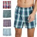 Мужские хлопковые шорты, клетчатое нижнее белье со средней талией, большие размеры, трусы-боксеры для мальчиков, мужские боксеры, домашние т...