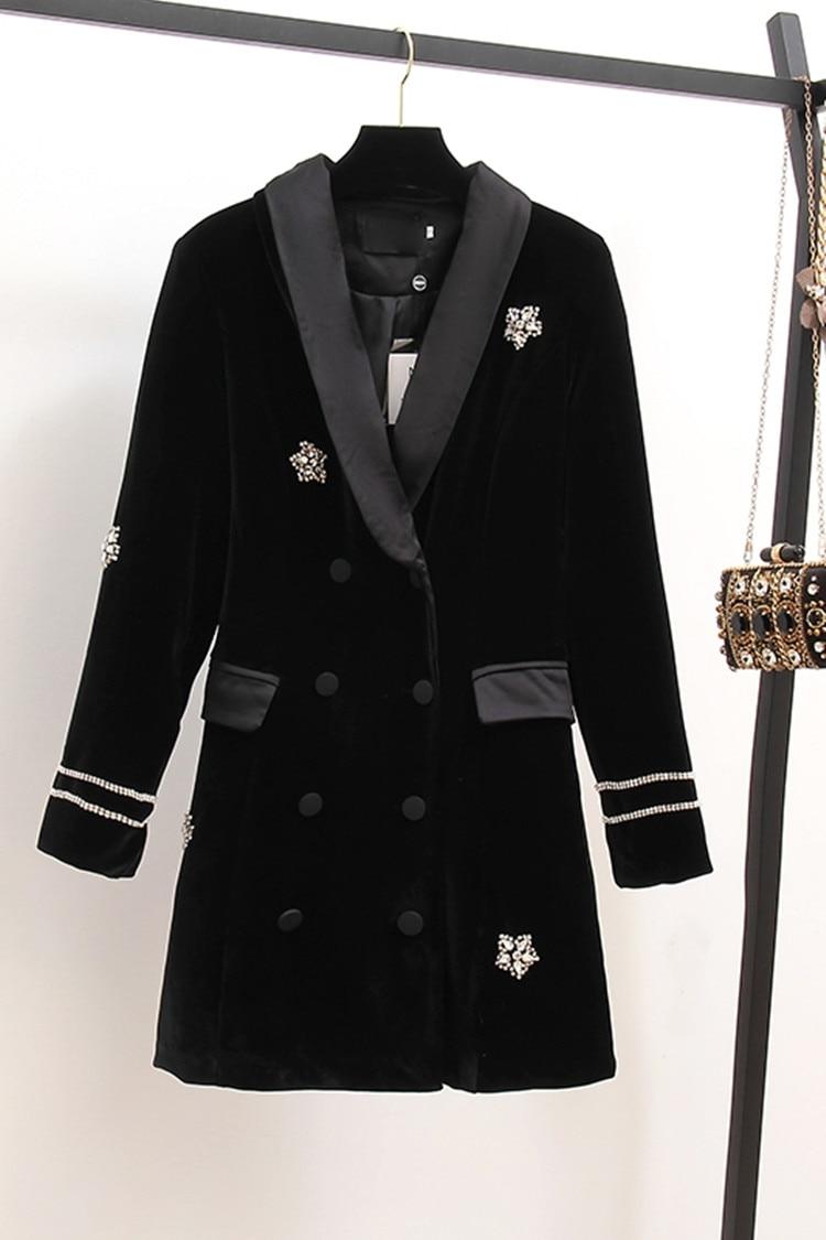 Высококачественная брендовая одежда Платье черного цвета осенние Для женщин из бархата, украшенная стразами с длинным рукавом, двубортное, короткое платье vestidos